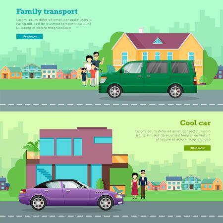 coachwork: Transport. Set of Icons. Cool Car. Family Auto Illustration