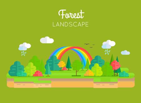 Forest Landscape Vector Concept In Flat Design.