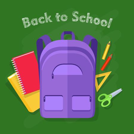 Back to School. Violet Backpack. Office Supplies Illustration