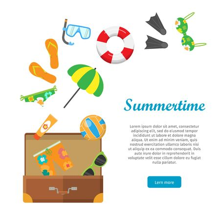 Summertime Conceptual Flat Style Vector Web Banner