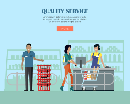 Quality Service in Supermarket Concept Banner.