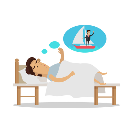 sleepiness: Dreams of vacation Vector Concept in Flat Design