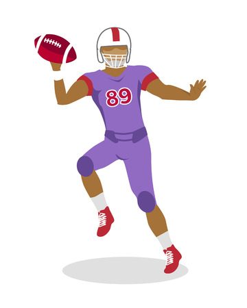 American Football Player in Jumping with Ball