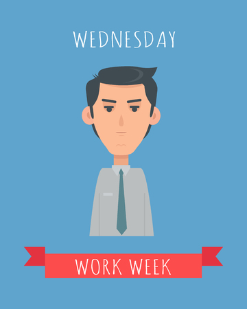 Work Week Emotive Vector Concept In Flat Design Ilustrace