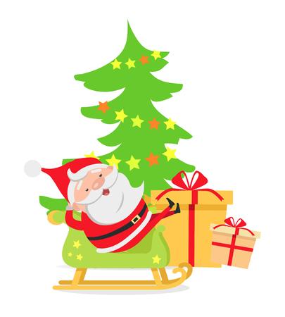 santa sleigh: Santa Claus in Sleigh near Decorated X-mas Tree