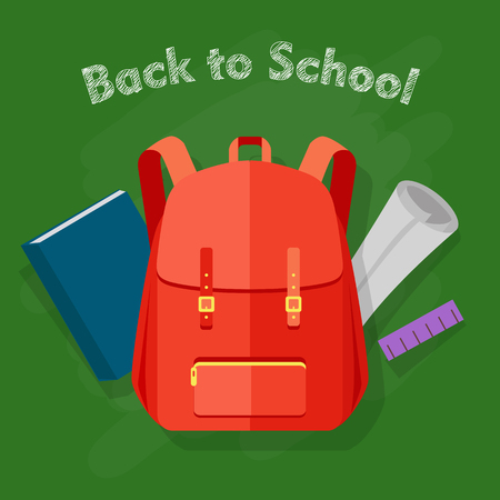 Back to School. Red Backpack. Office Supplies