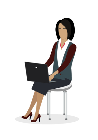 Business Woman Working with Laptop Stock Illustratie