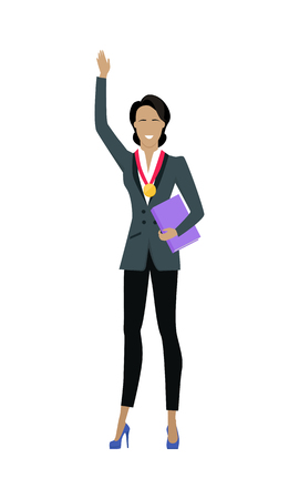 Winner Business Woman with Golden Medal Illustration