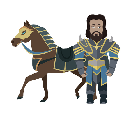 iron horse: Cartoon Knight Warrior with Horse. Game Character