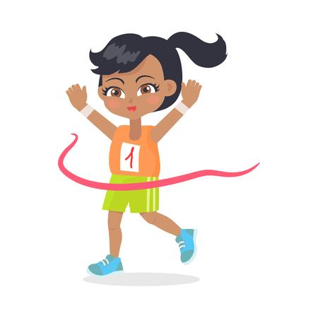 Running Girl with Black Hair Crosses Finish Line Illustration