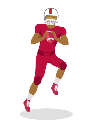 American Football Player in Equipment with Ball