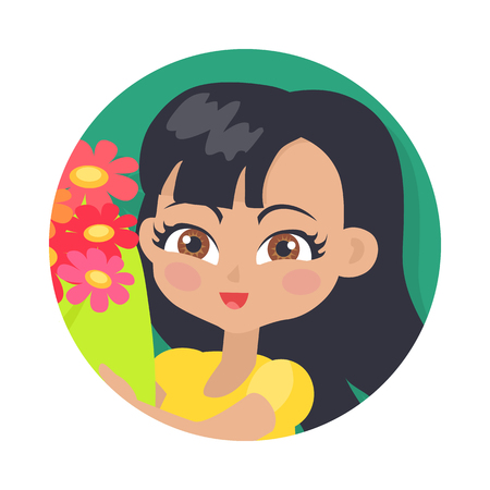 Smiling Girl with Colourful Flowers. Black Hair