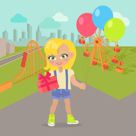Young Girl with Balloons and Present Box in Park