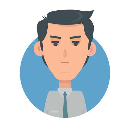 wrath: Man Face Emotive Vector Icon in Flat Style