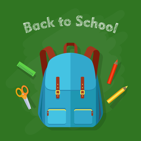 Back to school. Contemporary blue backpack with two pockets and school objects behind. Green ruler, red and yellow pencil, orange scissors. Illustration in cartoon style. Flat design.