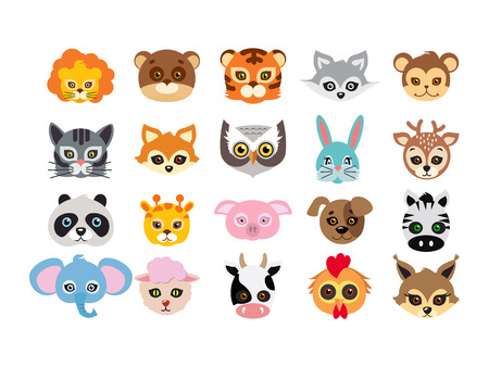 brute: Collection of different animal masks on face. Mask of lion, bear, tiger, rabbit, monkey, cat, fox, owl, hare, giraffe, deer, panda, pig dog zebra elephant sheep cow squirrel in flat design