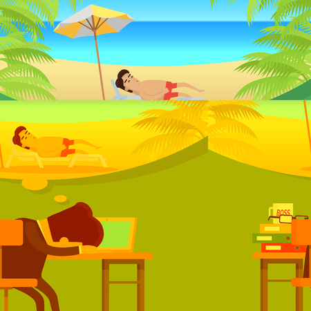 Dreams of vacation concept. Flat design. Office worker sleeping at working table and dreaming about a vacation at sunny seacoast. Leisure at tropical countries. For summer vacation concept. Illustration