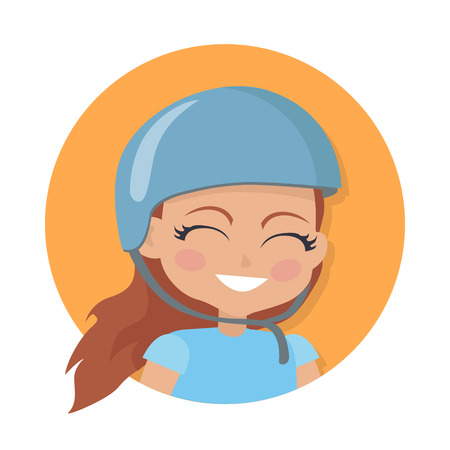 Girl with long brown hair. Biker avatar userpic. Portrait of nice female person in blue t-shirt and round helmet. Pink flush on face. Cartoon style. Girl face in circle. Flat design.