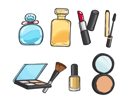 Set of various make-up things. Eyeshadow, long brown brush, red lipstick, perfume bottle, nail polish, isolated. Colourful. Collection of objects for women. Cartoon design. Flat style.