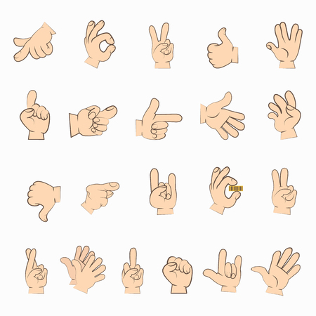 Hands set in different gestures isolated on white. Human hands interpretations. Emotions expressed by sign language. Signed language manual communication to convey meaning. illustration
