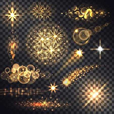 Set gloeit helder, sterlicht, vuurwerk. Flits en gloed, schittering verlicht, flare-effect, glansexplosie, glitter en twinkeling, vonkmagie, decoratie vuurwerk, glanzende illustratie. Roosterversie Stock Illustratie