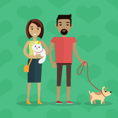 Walking with pets concept. Flat design. Young caucasian woman with cat on hands stroll with black man with dog on leash. Care of domestic animals. On green background with hearts Illustration