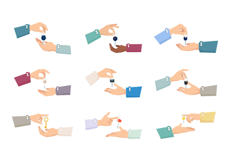 acquirement: Collection of pictures with hands holding different kinds of keys. Various positions of fingers. Hands passings keys. Sale process. Realization. Purchase. Cartoon design. Flat style.