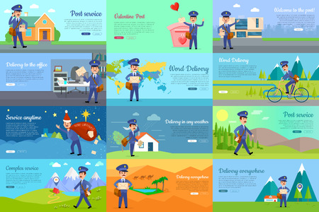 hurrying: Set of icons with postman characters and mail boxes. Mailman bringing common and love letters, bicycle, hurrying. Collection of various postboxes different in shape, colour, size. illustration Illustration