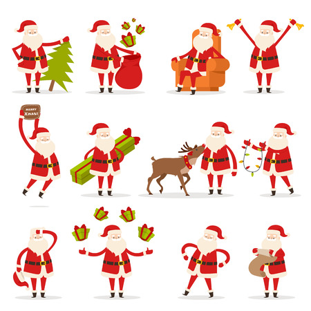 Santa Claus activities set. Santa with New Year tree, bag with presents, rest in armchair, ring in bells, wish Merry Christmas, give and juggle gift boxes, speak with deer, read and decorate.