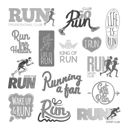 Run professional club. Club go run. Life is run. Run for health. King of run. I love run. Run sport club. Running a fan. Get up and run. Wake up and run. Set of colorless pictures. Poster.