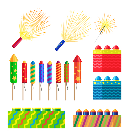 Collection of fireworks. New Year decorations. Illustration of different pyrotechnics in shape, size and colour. Attributes of New Year 2017. Bright explosions. Cartoon style. Flat design.
