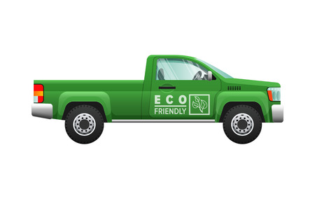 Transport. Picture of isolated green classical pickup. Ecologically clean car with two doors. Useful and cheap mean of transportation. Four-wheeled automobile in cartoon style. Flat design.