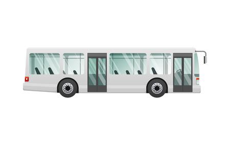 トランスポート。都市の公共交通機関。2 つの自動ドアを持つ白人の乗客バス。交通機関の高速長い四輪の意味。フロントとバックのヘッドライト。