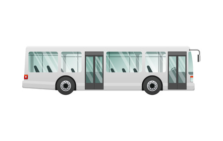 Transport. Urban public transport. White passenger bus with two automatic doors. Fast long four-wheeled mean of transportation. Front and back headlights. Simple cartoon style. Flat design. Ilustrace