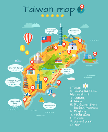 Taiwan map with sightseeing. Taipei. Chiang Kai-shek memorial hall. Keelung. Miaoli. Pingtung. White sand. Taitung. Yushan park. Yilan. Moon bridge skyscraper Imagens - 72890577