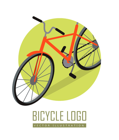 ecologically: Bicycle icon design flat isolated. Bike and orange bicycle. Personal transport. Ecologically safe transportation item. Cycling race sport. Mountain bicycle, travel bicycle. illustration