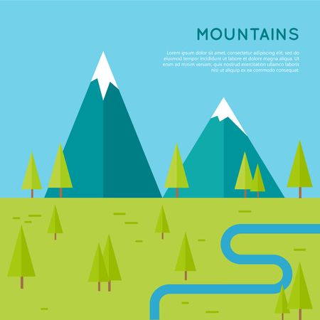 Mountains conceptual in flat style design. Meadow with trees, river and snow-capped mountains on the horizon.  Banner for environmental, ecological, touristic concepts and web page design.