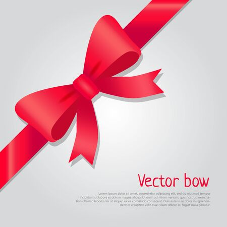 bow Illustration. Isolated long red ribbon and big bow with two tails. Colourful satin stretching line. Holiday concept. New Year, Christmas banner. Cartoon style. Front view. Flat design. Illustration