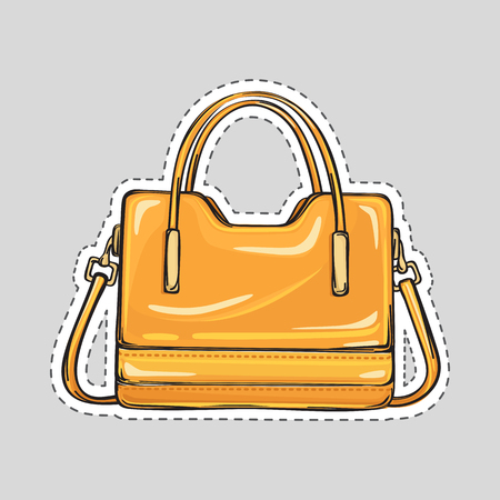 Ladies handbag with handle and clips isolated in flat style. Patch icon. Elegant orange yelow leather bag. Editable female accessory object. Modern trendy casual sack. Luxury case. illustration Illustration