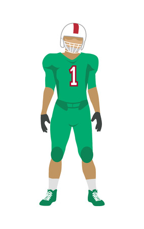 elbow pads: American football. Football player in green uniform, shoes and white helmet. Green football equipment. Sport team game. Cartoon icon of football player. American football sign.
