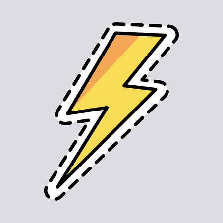 Yellow lightning icon. Cut it out. Illustration of isolated danger sign. Symbol of energy. Curved line. Patch. Amber colour. Cartoon style. Exscind. Flat design. Warning. Thunderbolt Çizim