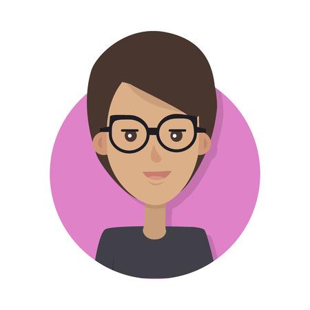Icono emotivo de la cara de la mujer. Sonriendo lindo femenino de pelo castaño en gafas plano aislado en blanco. Feliz retrato psicológico humano. Avatar de usuario de emociones positivas. Para aplicaciones, diseño web Foto de archivo - 72890520