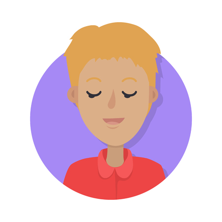 Man face emotive icon. Young boy character resting with closed eyes flat illustration isolated on white. Happy human psychological portrait. Positive emotions user avatar. For app, web design