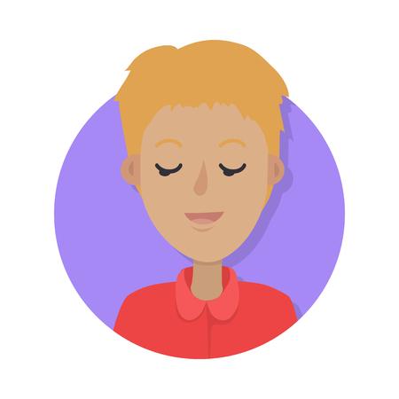 Man gezicht emotionele pictogram. Jong jongenskarakter die met gesloten ogen vlakke die illustratie rusten op wit wordt geïsoleerd. Gelukkig menselijk psychologisch portret. Positieve emoties gebruikersavatar. Voor app, webdesign