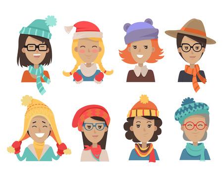여자 얼굴 감정 아이콘입니다. 따뜻한 니트 모자와 스카프 플랫의 모든 연령층의 귀여운 여성 캐릭터 미소. 소녀, 숙 녀, 할머니, 유행 겨울 머리 장식.