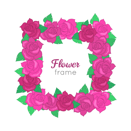 Flower frame. Squar wreath of different blossoms. Green leaves. Colourful selection of flowers on white. Dark and light pink roses. Decoration. Accessory for women. Cartoon design. Flat style.