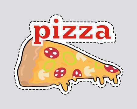 Pizza slice patch. Cut out Italian snack with cheese and tomatoes. Slice of pizza with dashed line. Mushrooms, salami, onion. Junk food. Consumption of high calories nourishment fast food.