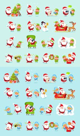 Santa and his helpers big set. Santa Claus, reindeer, snow maiden, ice princess, elf. Father Christmas daily activities stickers. Winter fun with Santa and his friends. Cartoon characters.