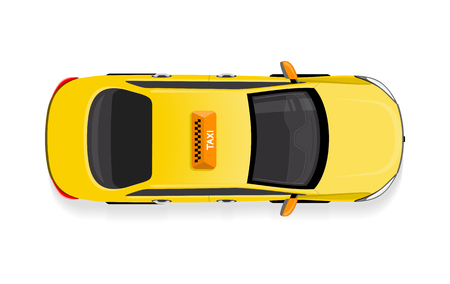 Taxi car top view icon. Yellow taxicab with checker top light box on roof flat style illustration isolated on white background. For taxi service app, transport company ad, infographics