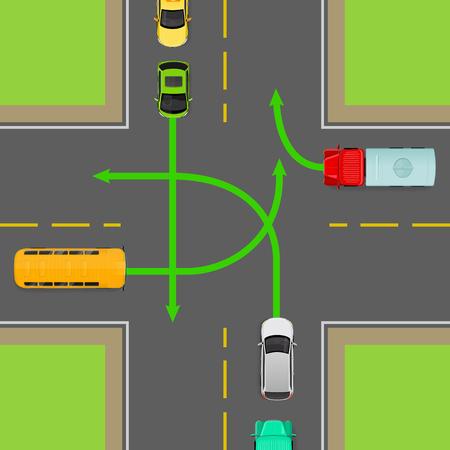 Gire las reglas en la ilustración plana de intersección de cuatro vías. Violación de la regla de ruta en el diagrama de la vista superior. Concepto de delitos de tráfico. Peligro de accidente automovilístico. Lección de teoría de conducción. Para la prueba de cursos de conducción